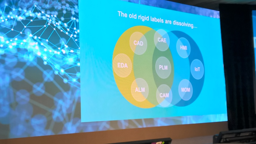 slide from Siemens PLM showing how old labels like IoT and MOM are changing